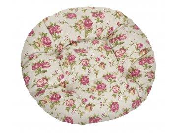 Sedák prošívaný kulatý - růžová růže