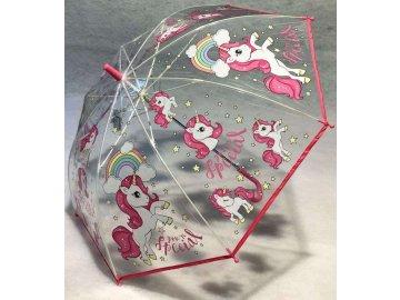 Vystřelovací průhledný deštník Jednorožec
