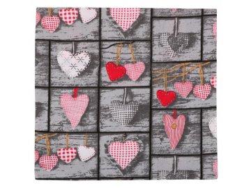 Povláček bavlněný - šedé srdce