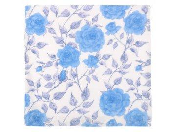 Povláček flanelový - modrá růže