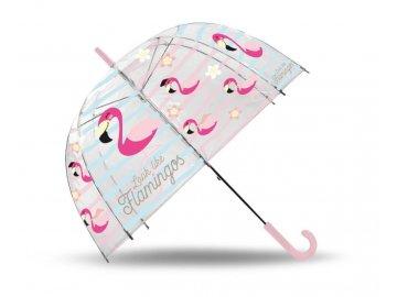 EUROSWAN Průhledný deštník Plameňák POE, průměr 70 cm