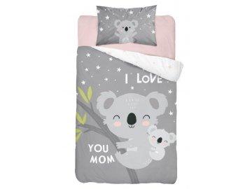 Povlečení do postýlky Koala Love grey  Bavlna, 100x135, 40x60 cm