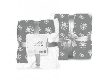 FARO Fleece deka s beránkem vločky šedá  Polyester, 150/200 cm