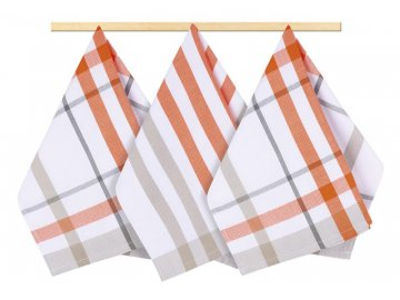 Kuchyňské utěrky - káro oranžové