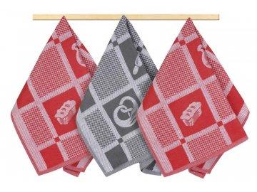 Kuchyňské utěrky - červenošedý patchwork