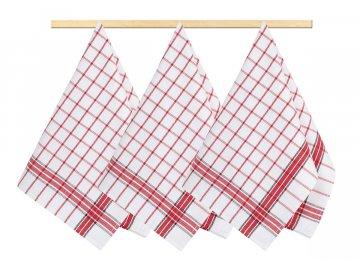 Kuchyňské utěrky - kostka červená