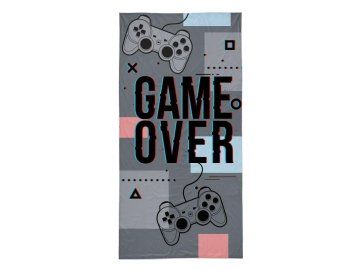 Osuška Game Over grey  Bavlna - Froté, 70x140 cm