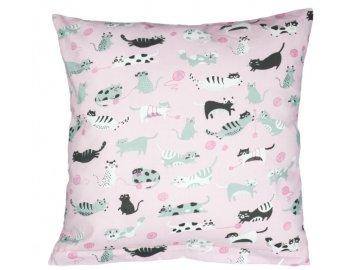 Povláček bavlněný - růžová kočka