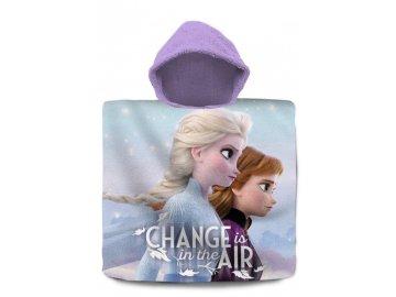 Pončo Ledové Království Anna a Elsa air  Bavlna - Froté, 60x120 cm
