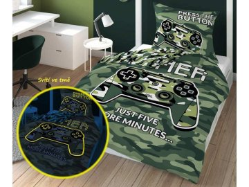 Povlečení Gamer Army svítící  Bavlna, 140x200, 70x80 cm