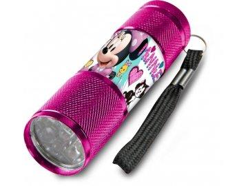 Dětská hliníková LED baterka Minnie malinová Hliník, Plast,  9x2,5 cm