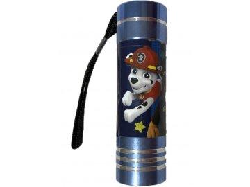 Dětská hliníková LED baterka Paw Patrol modrá Hliník, Plast,  9x2,5 cm