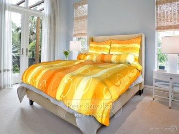 Krepové ložní povlečení - Kola oranžová