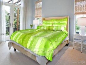 Krepové ložní povlečení - Kola zelená