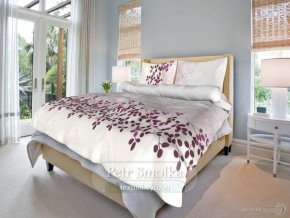 Bavlněné ložní povlečení - Květa lila