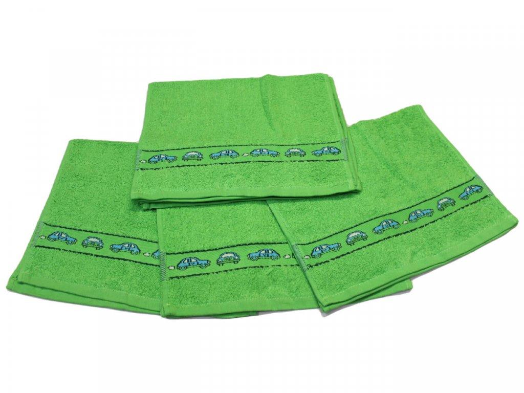Obrázkový dětský ručník pro mateřské školy 30x50 cm Autíčko zelené 1