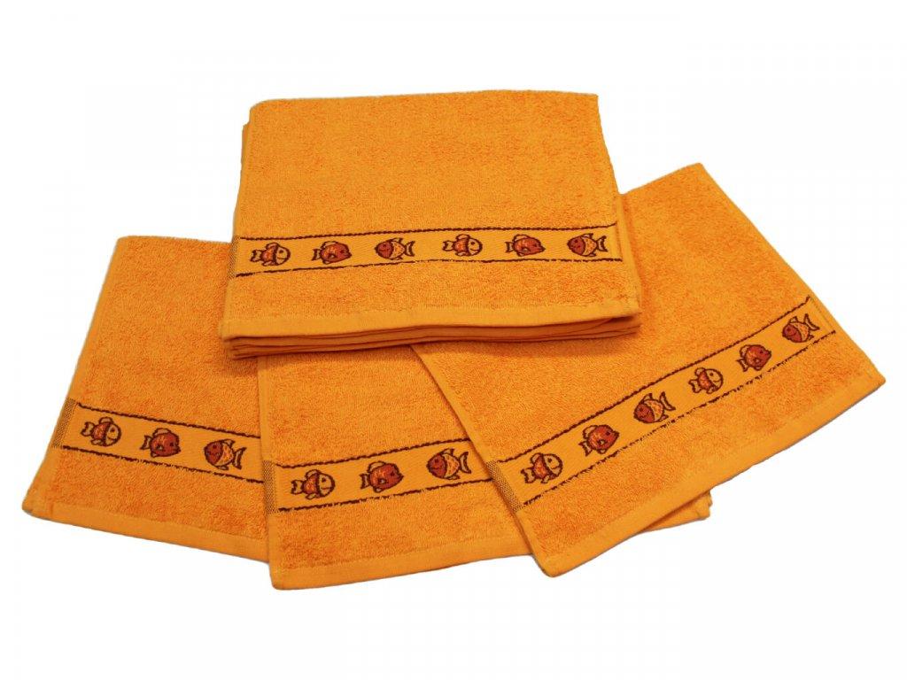 Obrázkový dětský ručník pro mateřské školy 30x50 cm Rybička oranžová 1