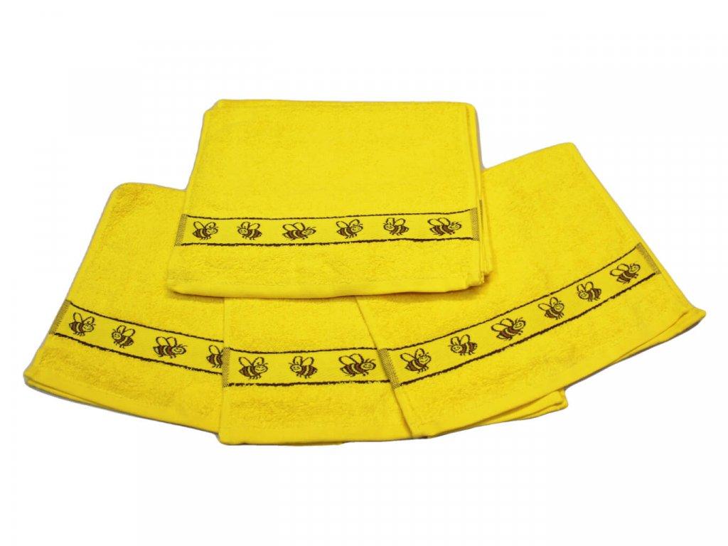 Obrázkový dětský ručník pro mateřské školy 30x50 cm Včelka žlutá