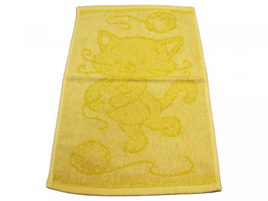 Obrázkový dětský ručník pro mateřské školy 30x50 cm Kočička žlutá 1