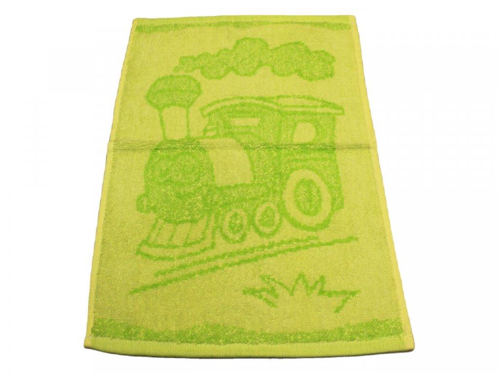 Obrázkový dětský ručník pro mateřské školy 30x50 cm Mašinka zelená 1