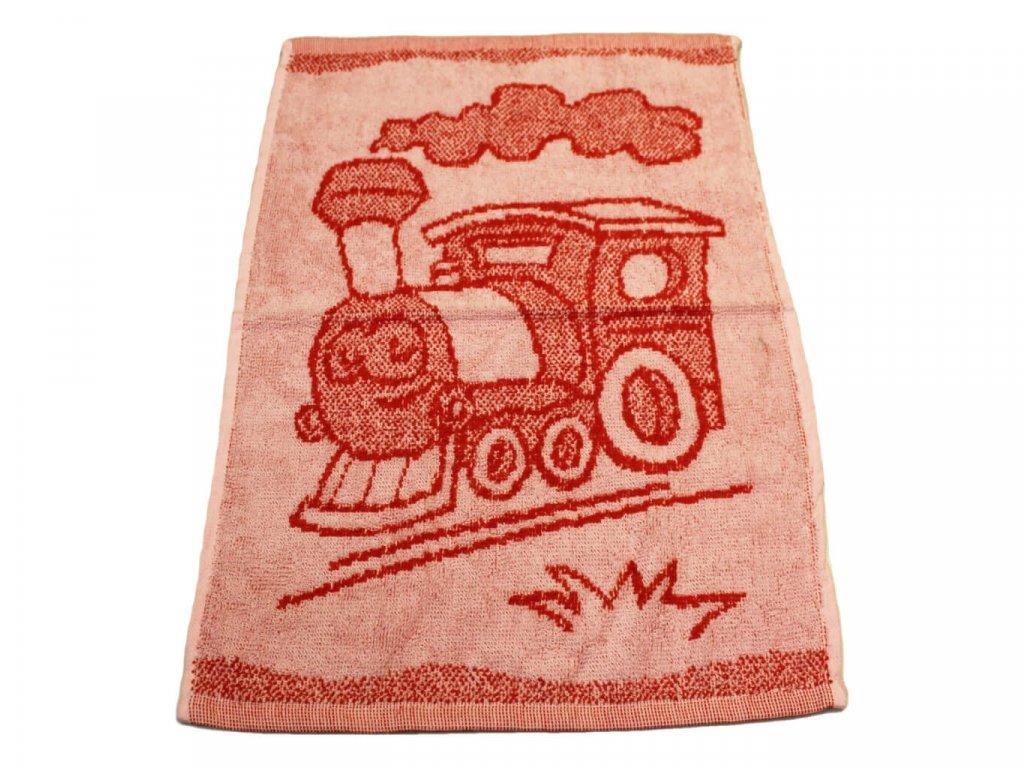 Obrázkový dětský ručník pro mateřské školy 30x50 cm Mašinka červená 1