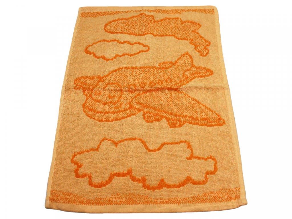 Obrázkový dětský ručník pro mateřské školy 30x50 cm Letadlo oranžové 1