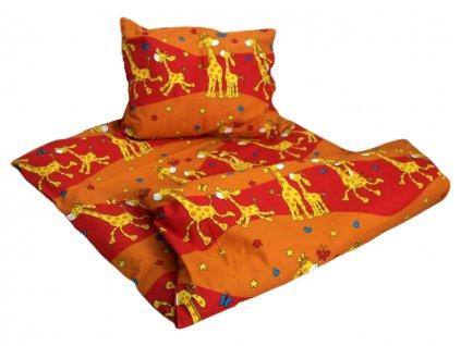 Dětské bavlněné povlečení do školky Žirafa oranžová