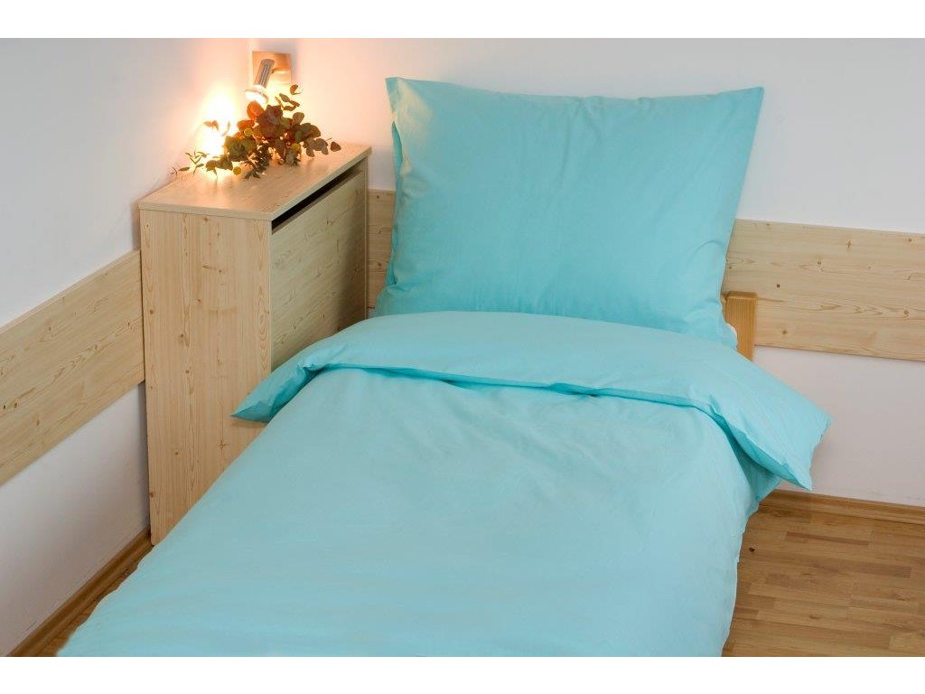 Prodloužené povlečení bavlna UNI 140x220, 70x90cm Zelená, Výběr zapínání: