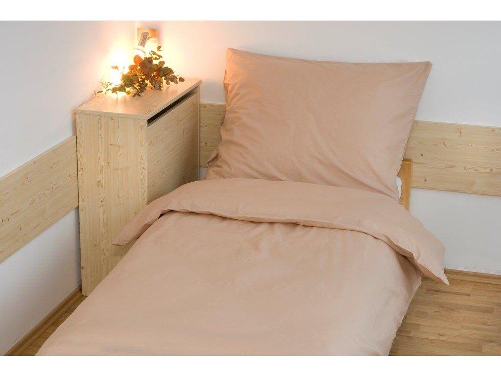 Prodloužené povlečení bavlna UNI 140x220, 70x90cm Béžová, Výběr zapínání: