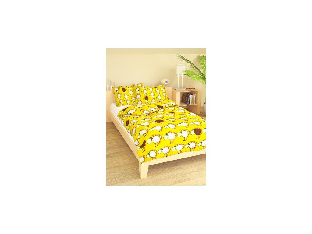 Povlečení dětské bavlna malá postýlka Ovečky žluté, Výběr zapínání: nitěný knoflík