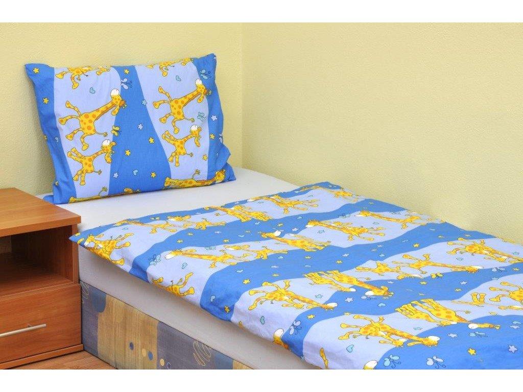 Povlečení dětské bavlna malá postýlka Žirafa modrá, Výběr zapínání: nitěný knoflík