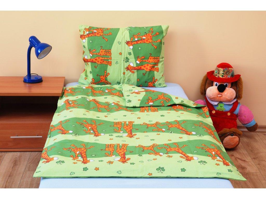 Povlečení dětské bavlna malá postýlka Žirafa zelená, Výběr zapínání: nitěný knoflík