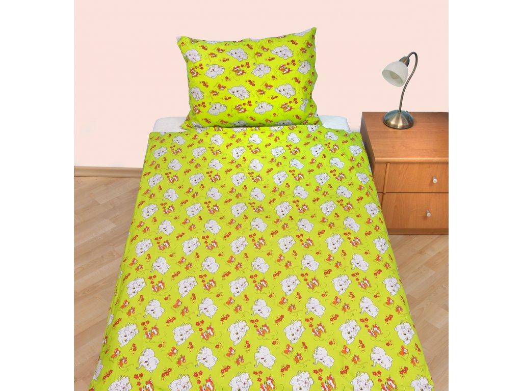 Povlečení dětské bavlna velká postel Slůně zelené, Výběr zapínání: