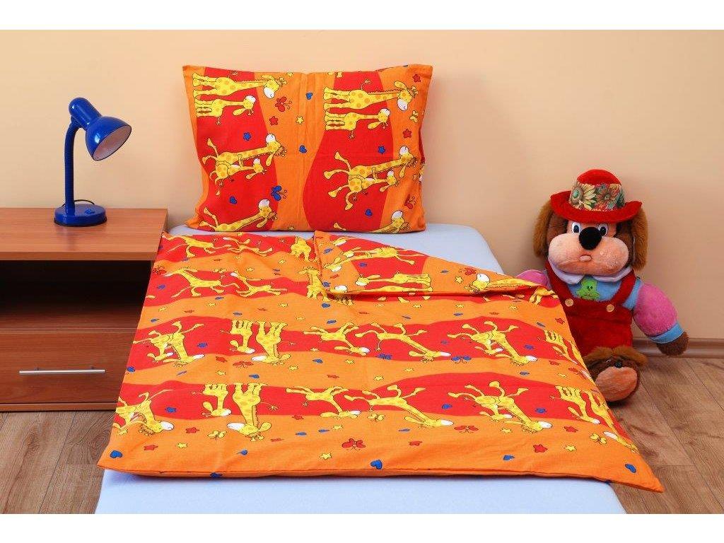 Povlečení dětské bavlna velká postel Žirafa oranžová, Výběr zapínání:
