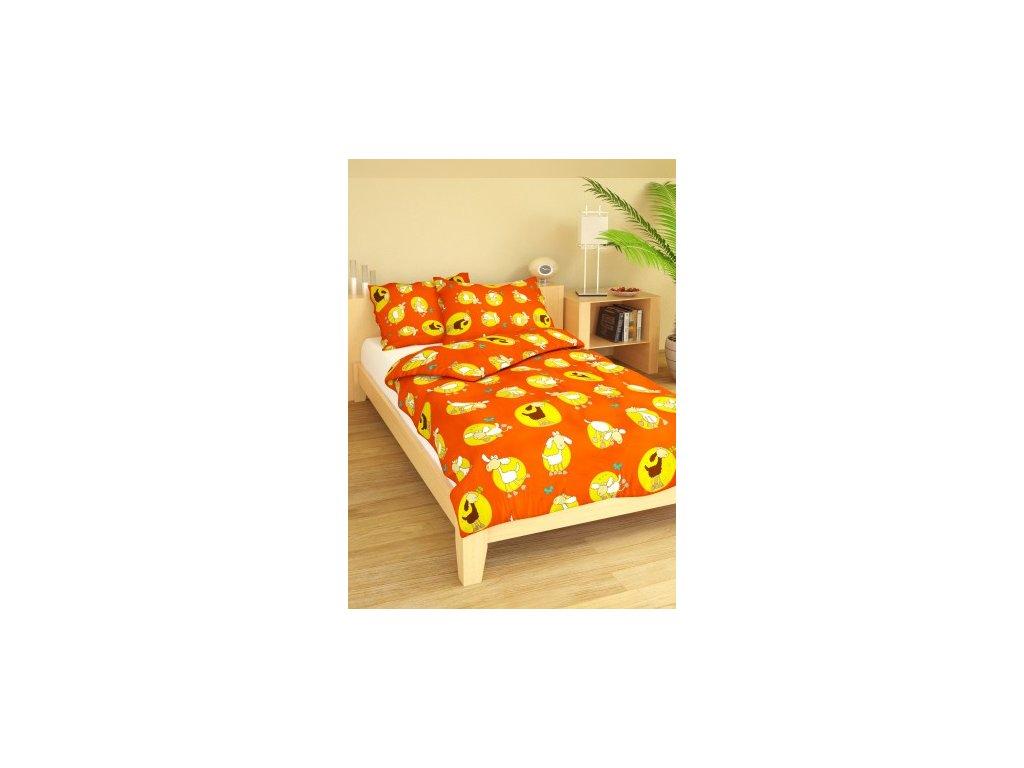 Povlečení dětské bavlna velká postel Ovečky oranžové, Výběr zapínání: zipový uzávěr