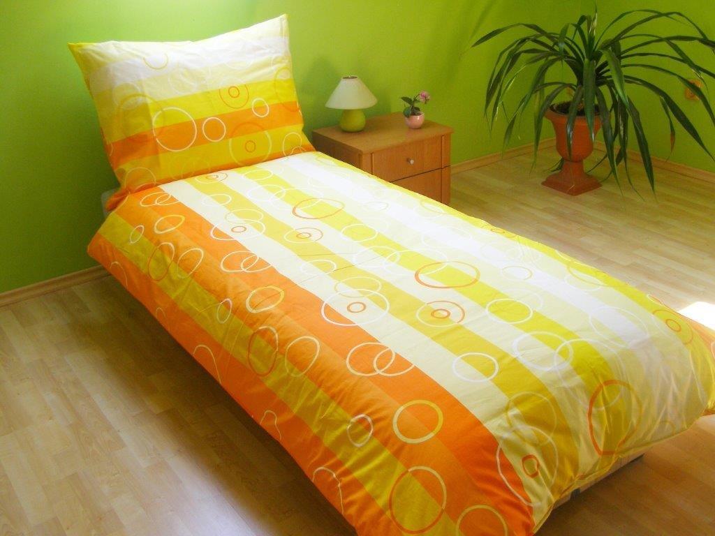 Povlečení francouzské bavlna 200x200,70x90 Bublina oranžová, Výběr zapínání: zipový uzávěr