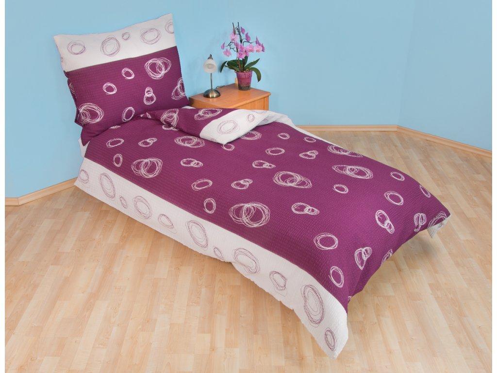 Prodloužené povlečení bavlna 140x220, 70x90cm Espiral fialový, Výběr zapínání: zipový uzávěr