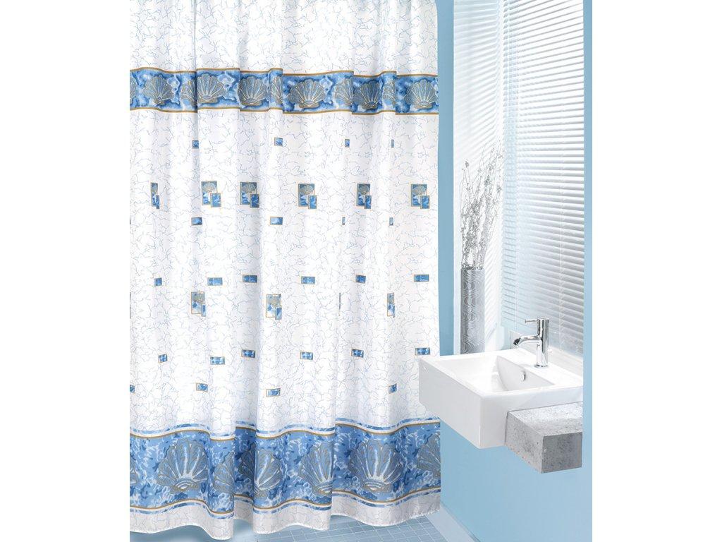 Koupelnový závěs modré mušle