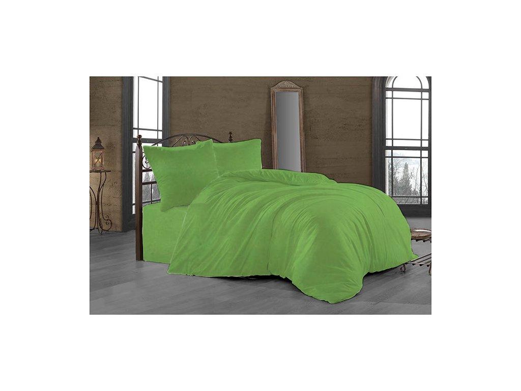 Prodloužené povlečení Satén 140x220, 70x90cm světle zelená, Výběr zapínání: zipový uzávěr