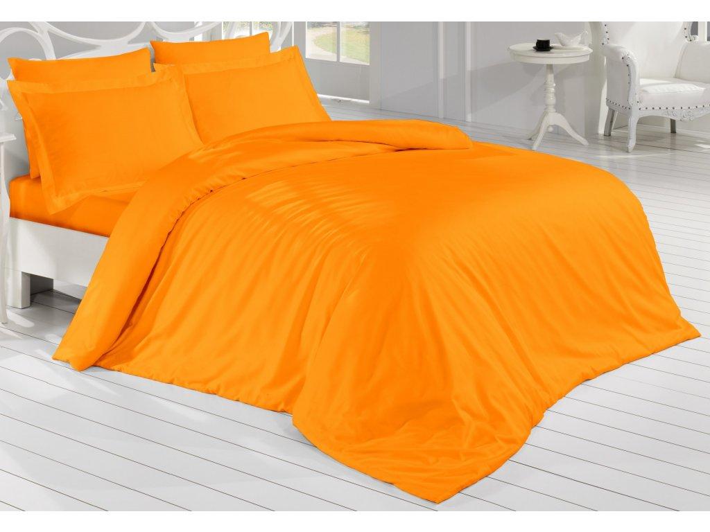 Francouzské povlečení Satén 240x200, 70x90cm Oranžová, Výběr zapínání: zipový uzávěr