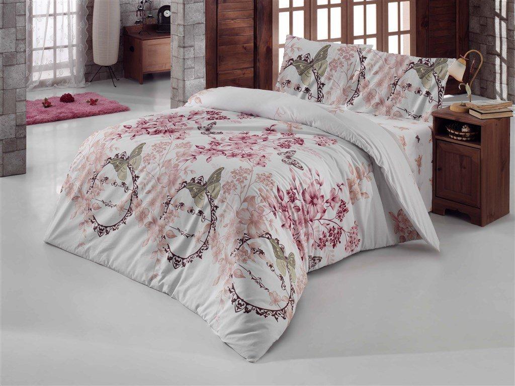 Povlečení bavlna 140x200, 70x90cm Romantika bílá, Výběr zapínání: zipový uzávěr