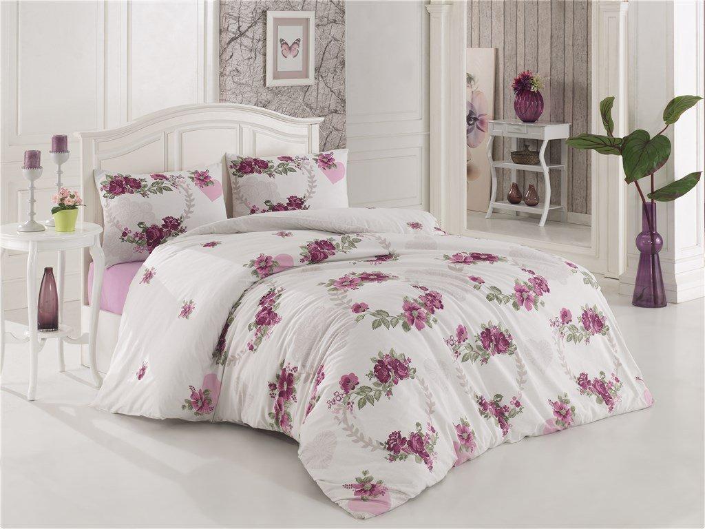 Prodloužené povlečení bavlna 140x220, 70x90cm Květa lila, Výběr zapínání: zipový uzávěr