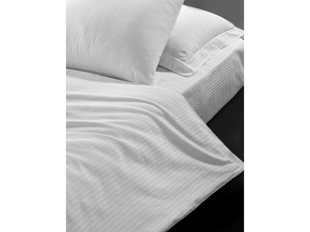 Hotelové povlečení 140x200, 70x90cm Atlas gradl Bílý - česaný 145g/m2, proužek 4mm, Výběr zapínání: