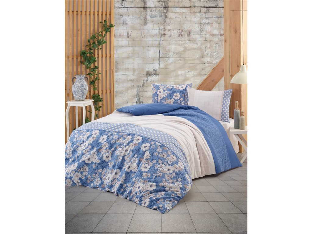 Povlečení bavlna 140x200, 70x90cm Dona blue, Výběr zapínání: