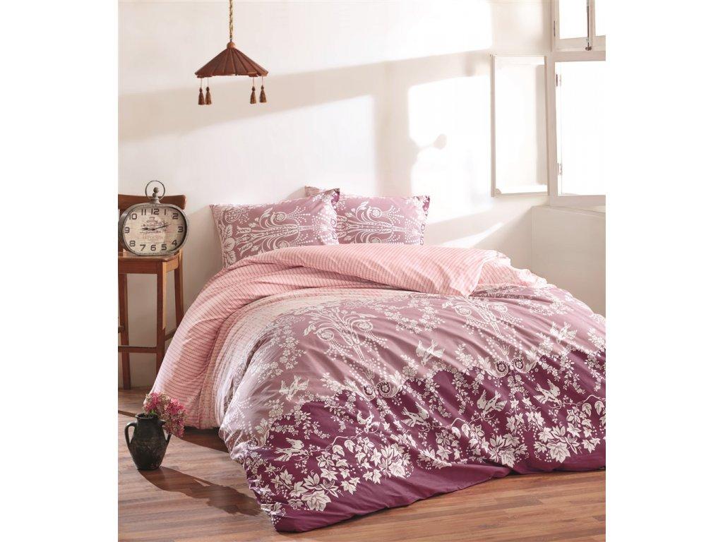 Prodloužené povlečení bavlna 140x220, 70x90cm Lady bordo, Výběr zapínání: