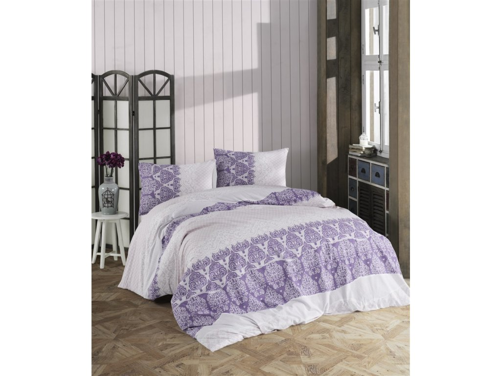 Prodloužené povlečení bavlna 140x220, 70x90cm Madelaine purple, Výběr zapínání: zipový uzávěr