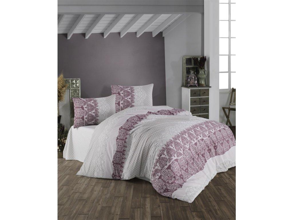 Povlečení francouzské bavlna 200x200,70x90 Madelaine bordo, Výběr zapínání: