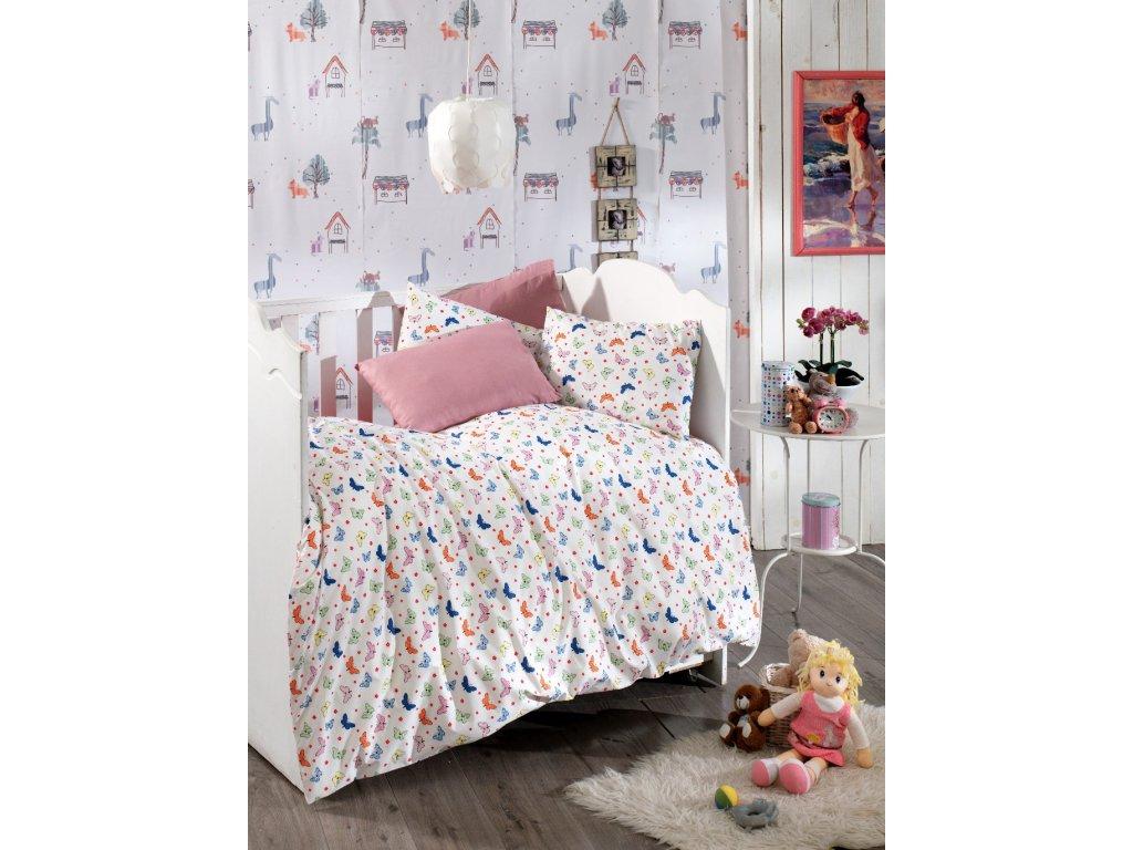 Povlečení dětské bavlna malá postýlka 90x135+45x60cm motýlci, Výběr zapínání: nitěný knoflík