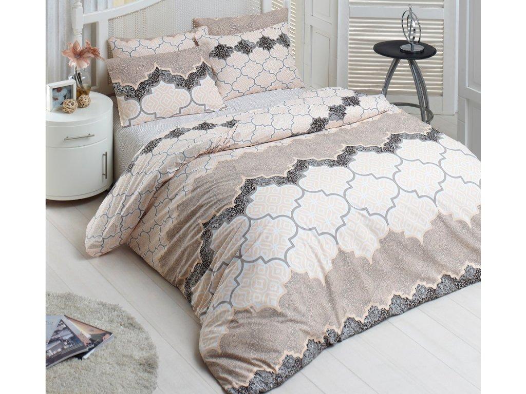 Prodloužené povlečení bavlna 140x220, 70x90cm Kandy natur, Výběr zapínání: zipový uzávěr
