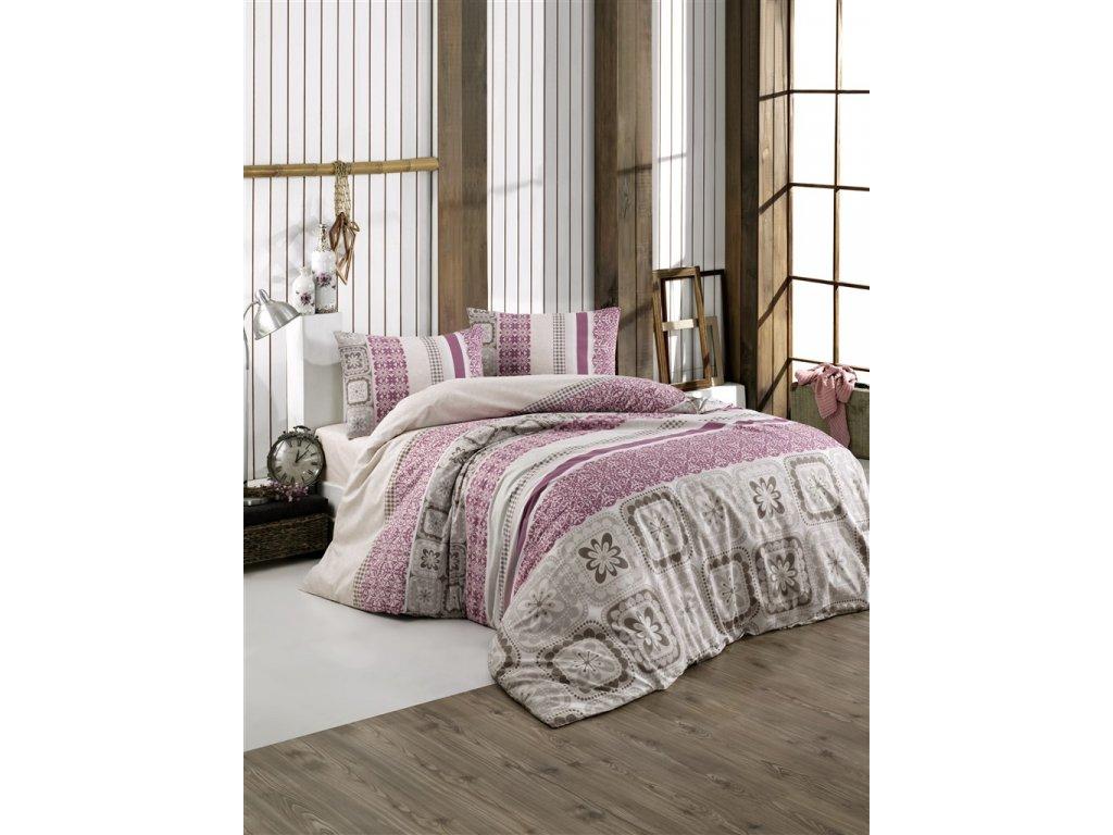 Povlečení francouzské bavlna 240x220,70x90 Scarlet pink, Výběr zapínání: zipový uzávěr
